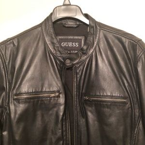 Guess Men's Black Leather Jacket XL